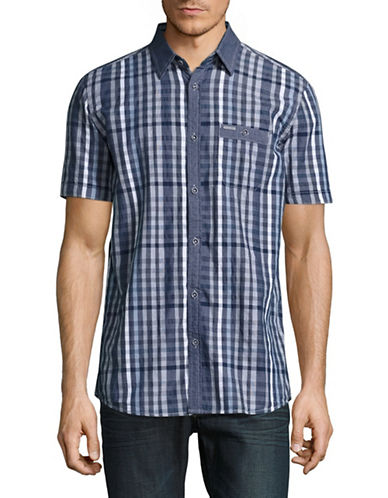 Point Zero Semi-Fit Short Sleeve Check Shirt-BLUE-Large