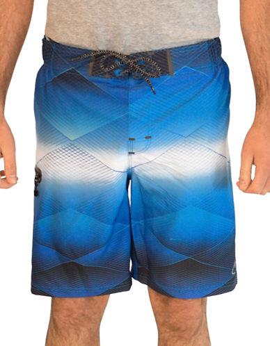 Point Zero Geometrical Patterned Boardshorts-BLUE-Large