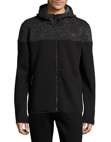 Point Zero Print Blocked Soft Shell Hoodie-BLACK-X-Large 89069736_BLACK_X-Large