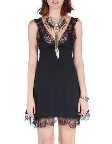 California Moonrise Lace Trim Slip Dress-BLACK-Medium