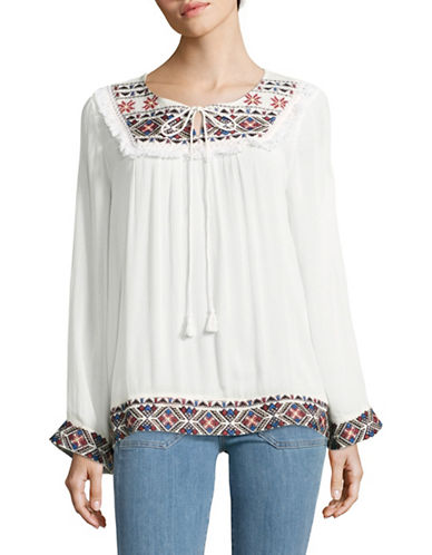 California Moonrise Embroidered Peasant Top-WHITE-Small