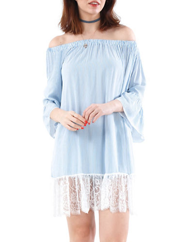 California Moonrise Stripe Off-Shoulder Statement Sleeve Tunic with Lace-BLUE/WHITE-Large