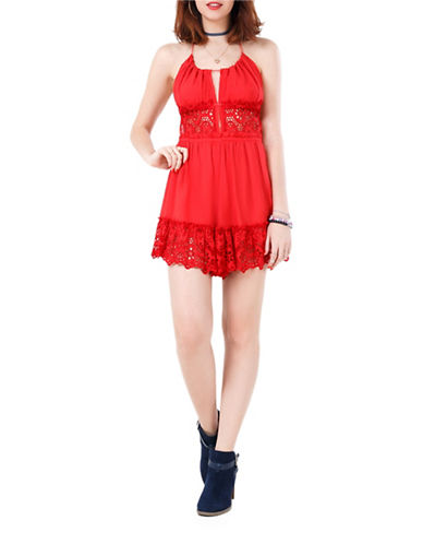 California Moonrise Lace Insert Romper-RED-Medium