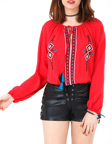 California Moonrise Long Sleeve Embroidered Nomad Blouse with Tassels-RED-Large