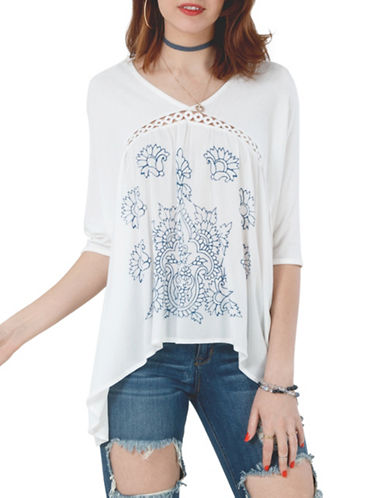 California Moonrise Mixed Media Floral Sharkbite Blouse-WHITE-X-Small 89191267_WHITE_X-Small
