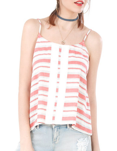 California Moonrise Spaghetti Strap  Striped Camisole Top-RED-Large