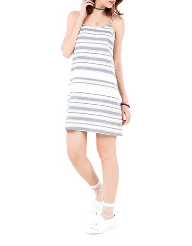 California Moonrise Spaghetti Strap Stripe Slip Dress-WHITE/BLUE-Large