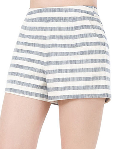 California Moonrise Vintage Stripe Elastic Back Shorts-GREY-X-Small