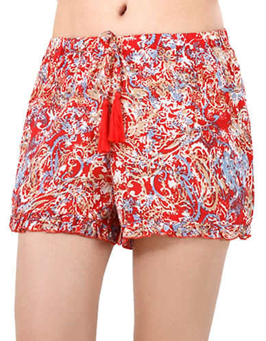 California Moonrise Elastic Waist Ruffle Hem Print Shorts-RED-Medium