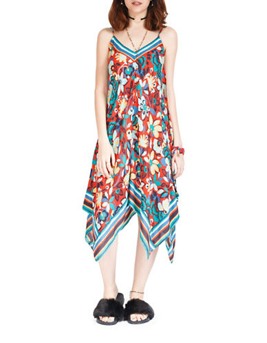California Moonrise Floral-Print Handkerchief Hem Dress-RED MULTI-Small
