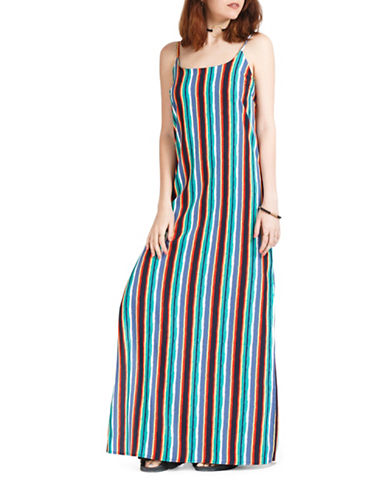 California Moonrise Striped Side Slit Dress-MULTI-Large