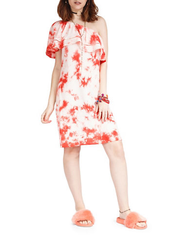 California Moonrise One Shoulder Ruffle Tie Dye Dress-CORAL-Small