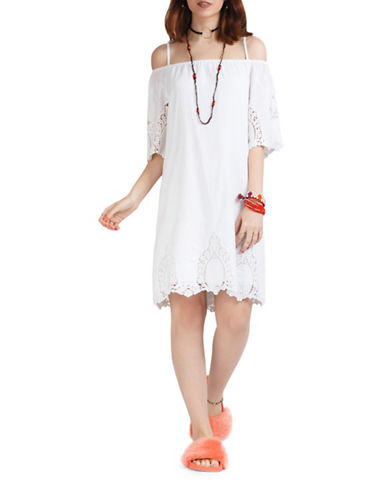 California Moonrise Cold Shoulder Eyelet Embroidery Dress-WHITE-Medium