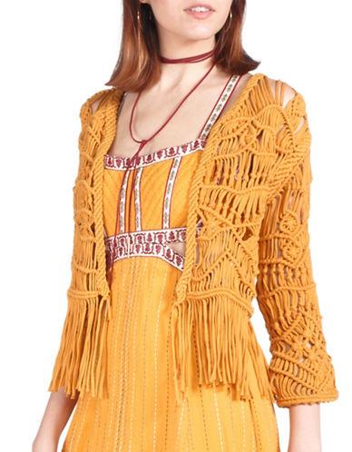 California Moonrise Hand Knot Crochet Knit Jacket-YELLOW-Medium
