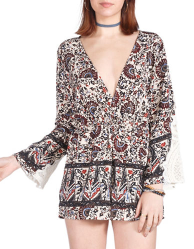 California Moonrise Wrap-Front Printed Romper-BROWN-Small