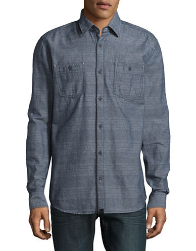 Point Zero Long Sleeve Twist Shirt-BLUE-Medium