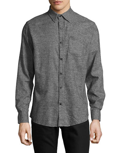 Point Zero Two-Tone Twist Sport Shirt-NATURAL-X-Large