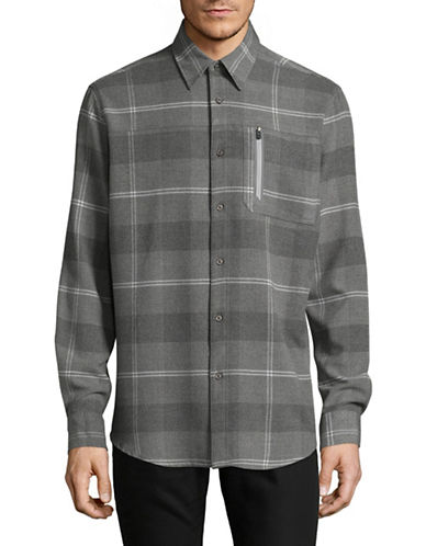 Point Zero Long Sleeve 4-Way Stretch Check Shirt-GREY-Large