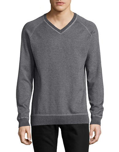 Point Zero Ribbed V-Neck Sweatshirt-GREY-Large