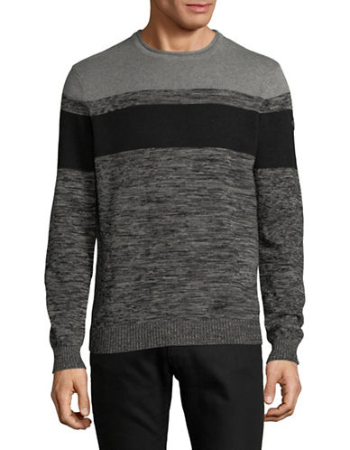 Point Zero Honey Combo Cotton Sweater-GREY-Large