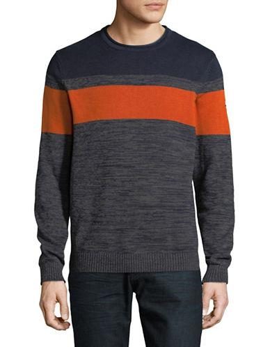 Point Zero Honey Combo Cotton Sweater-BLUE-Small