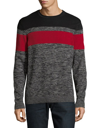 Point Zero Honey Combo Cotton Sweater-RED-Large
