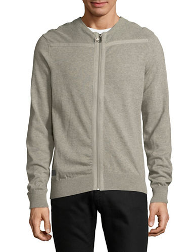 Point Zero Jersey Knit Cotton Cardigan-GREY-Large