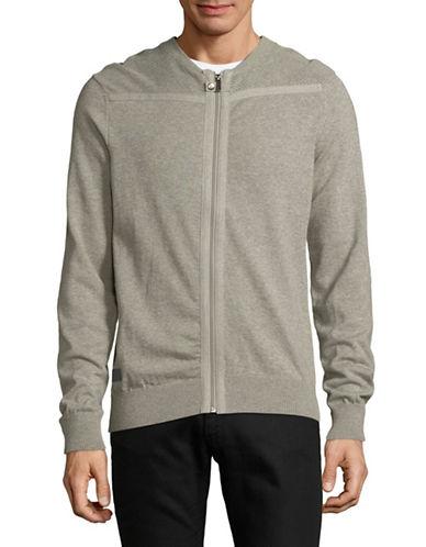 Point Zero Jersey Knit Cotton Cardigan-GREY-Small