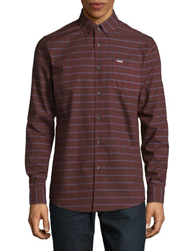 Point Zero Long Sleeve Check Cotton Jacquard Shirt-RED-Large