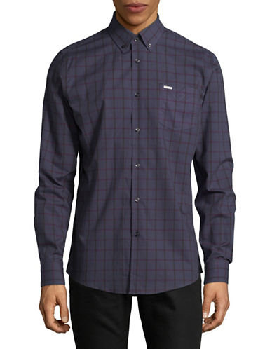 Point Zero Long Sleeve Check Cotton Jacquard Shirt-BLUE-Medium