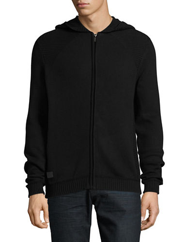 Point Zero Cotton Jersey Hooded Cardigan-BLACK-X-Large