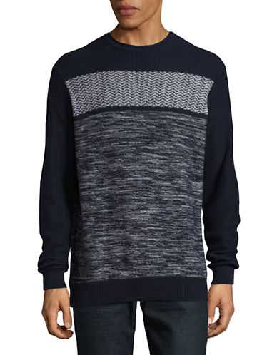 Point Zero Cotton Jacquard Sweater-BLUE-Large