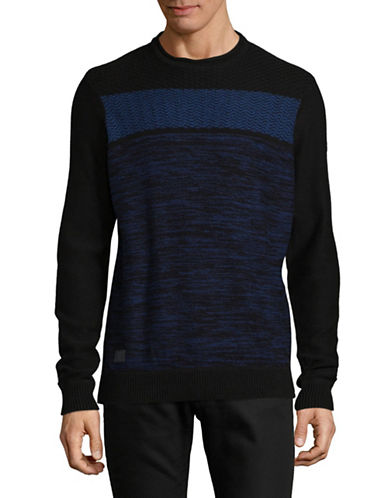 Point Zero Cotton Jacquard Sweater-BLACK-Small