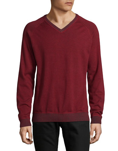 Point Zero Ribbed V-Neck Sweatshirt-CRIMSON-Large