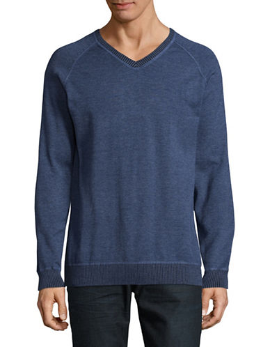 Point Zero Ribbed V-Neck Sweatshirt-BLUE-Small