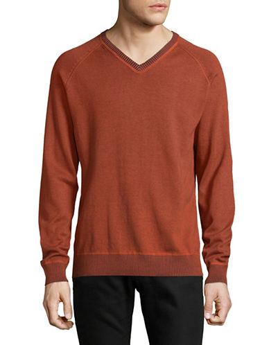 Point Zero Ribbed V-Neck Sweatshirt-RED-Large