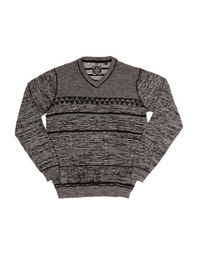 Point Zero Space Dyed V-Neck Sweater-BLACK-Small
