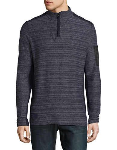 Point Zero Reversible Quarter-Zip Sweater-BLUE-Medium