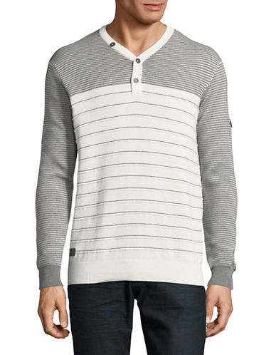 Point Zero Striped Cotton Sweater-NATURAL-Small