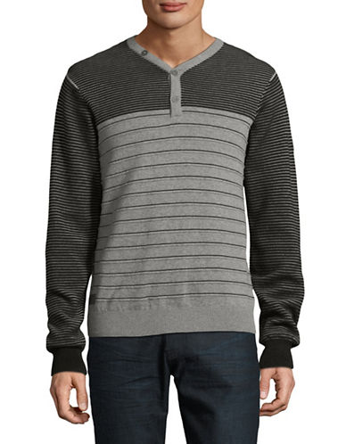 Point Zero Striped Cotton Sweater-GREY-Small