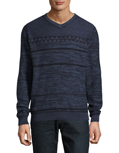 Point Zero Fine Gauge Jacquard Cotton Sweater-BLUE-Medium