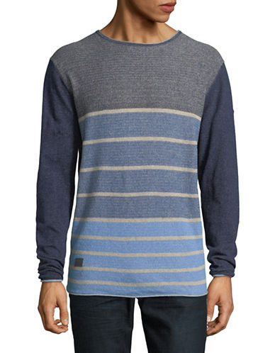 Point Zero Striped Raw Trim Cotton Sweater-BLUE-Small