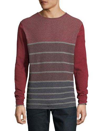 Point Zero Striped Raw Trim Cotton Sweater-BLACK-Small