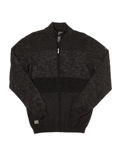 Point Zero Fine Gauge Textured Cotton Full Zip Jacket-BLACK-Medium