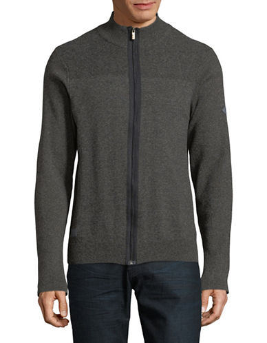 Point Zero Full Zip Cotton Cardigan-BLACK-Medium