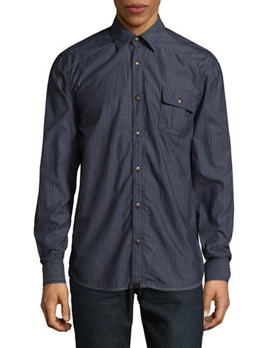 Point Zero Chambray Printed Cotton Sport Shirt-BLUE-X-Large