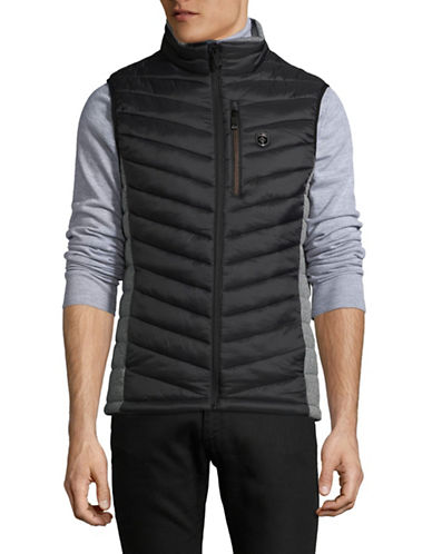 Point Zero Chevron Quilted Vest-BLACK-Small