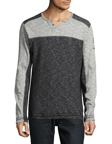 Point Zero Colourblock Split-Neck Top-GREY-X-Large