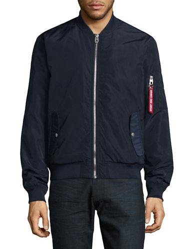 Point Zero Baseball Neck Bomber Jacket-BLUE-Large 89507817_BLUE_Large