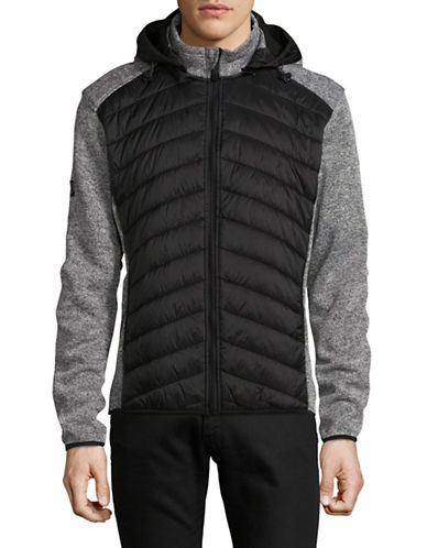 Point Zero Contrast Quilt Pattern Jacket-BLACK-Small